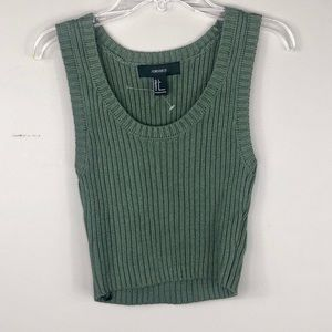 Forever 21 Olive Green Ribbed Knit Cropped Tank